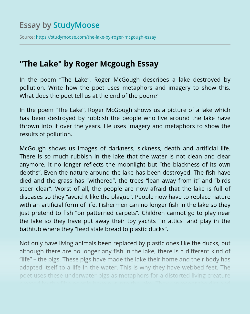 """The Lake"" by Roger Mcgough"
