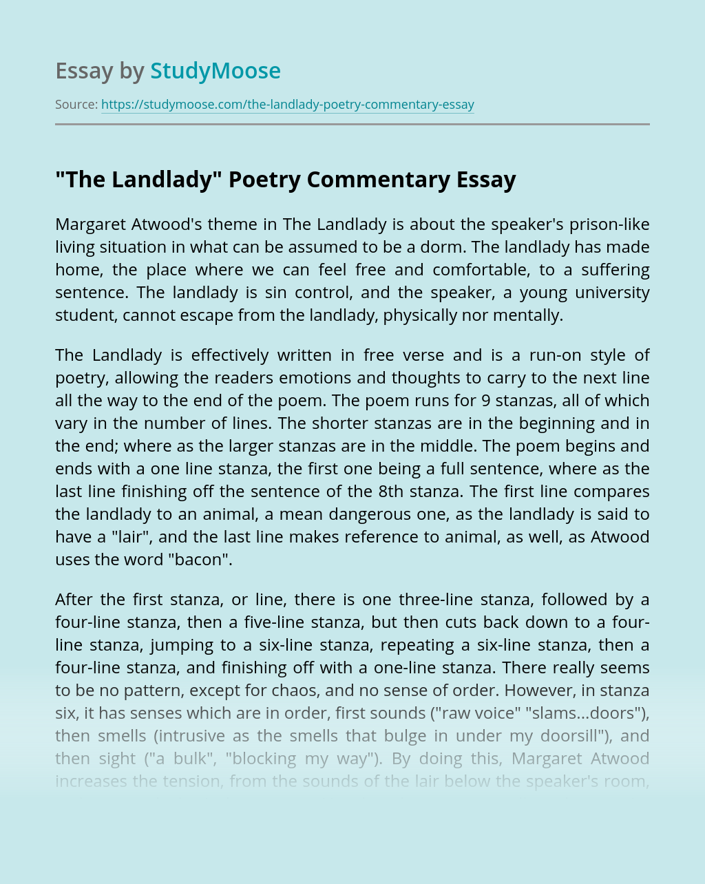 """""""The Landlady"""" Poetry Commentary"""