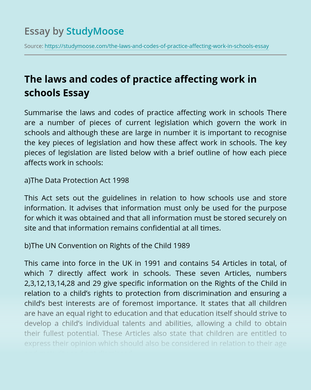 The laws and codes of practice affecting work in schools