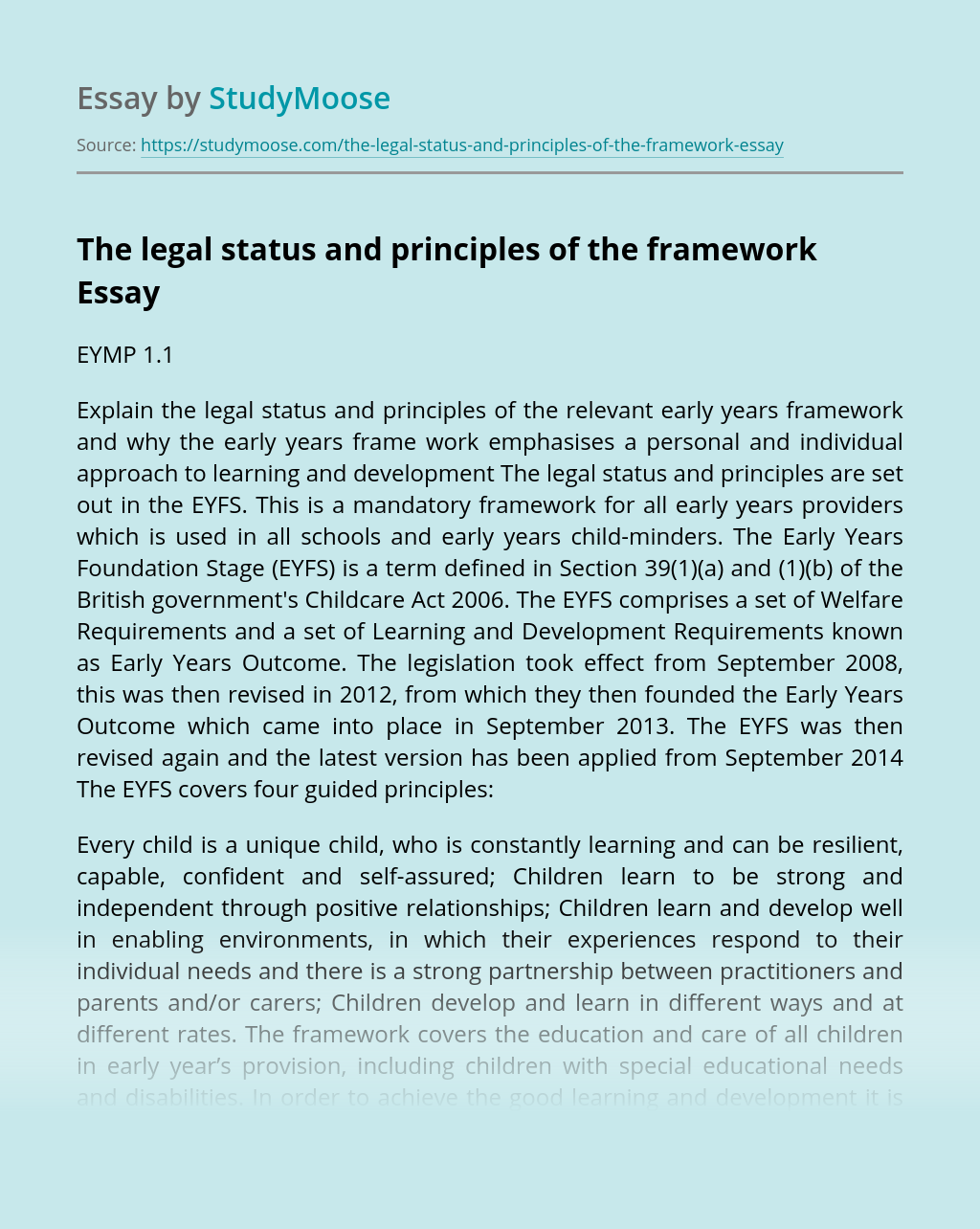 The legal status and principles of the framework