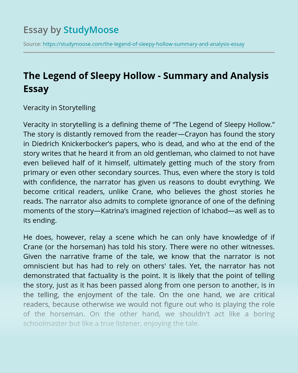 The Legend of Sleepy Hollow - Summary and Analysis