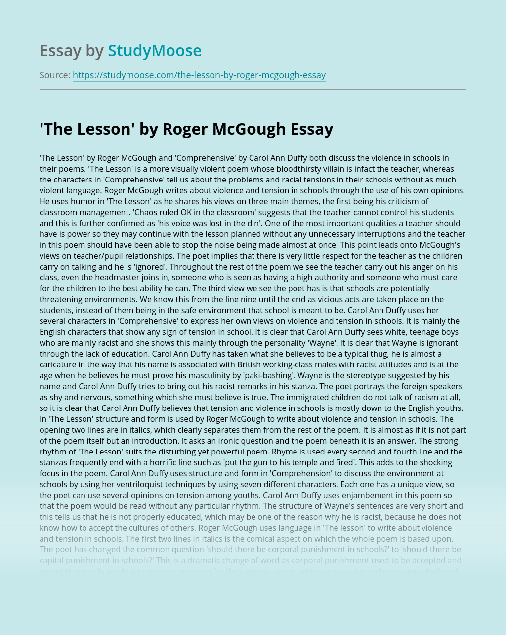 'The Lesson' by Roger McGough