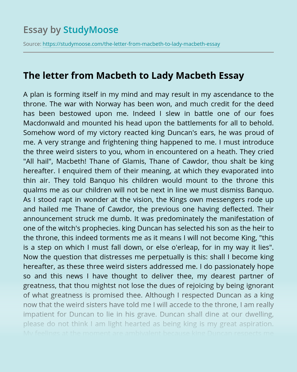The letter from Macbeth to Lady Macbeth