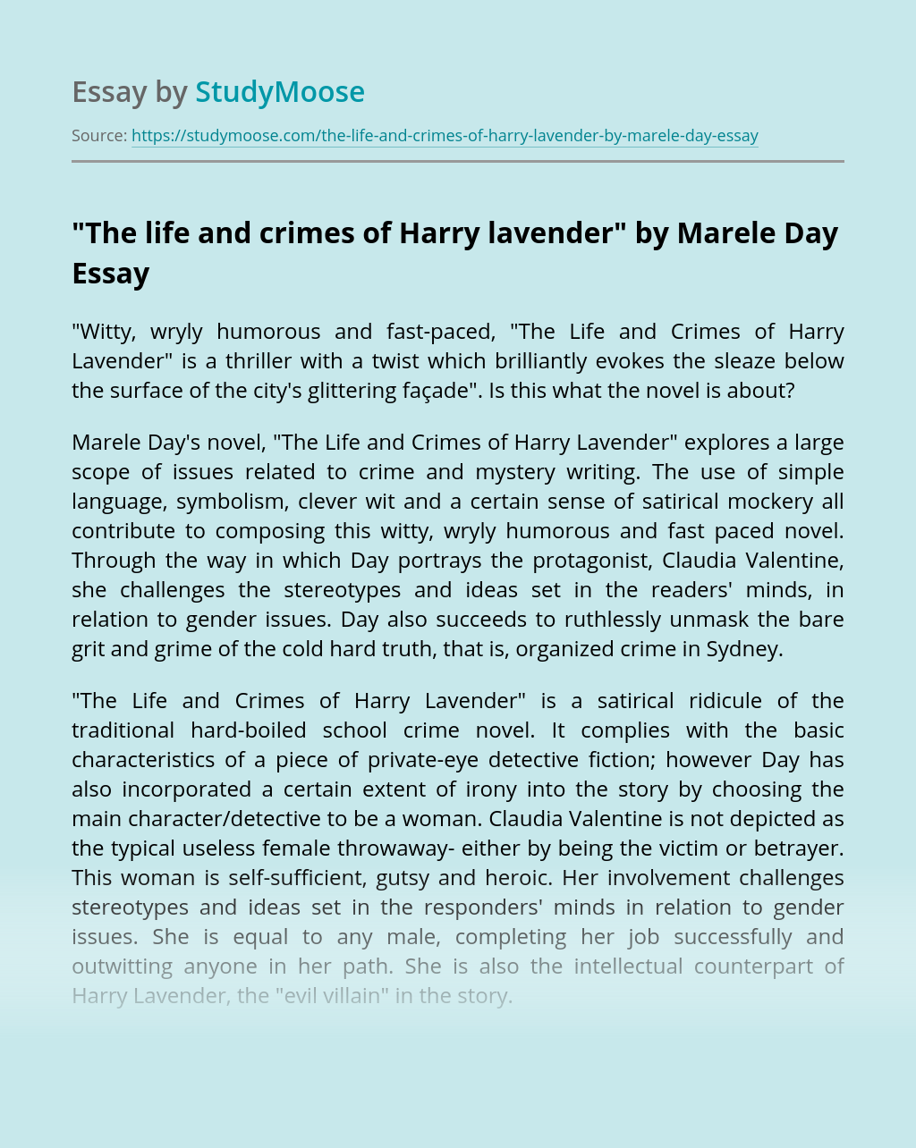"""""""The life and crimes of Harry lavender"""" by Marele Day"""
