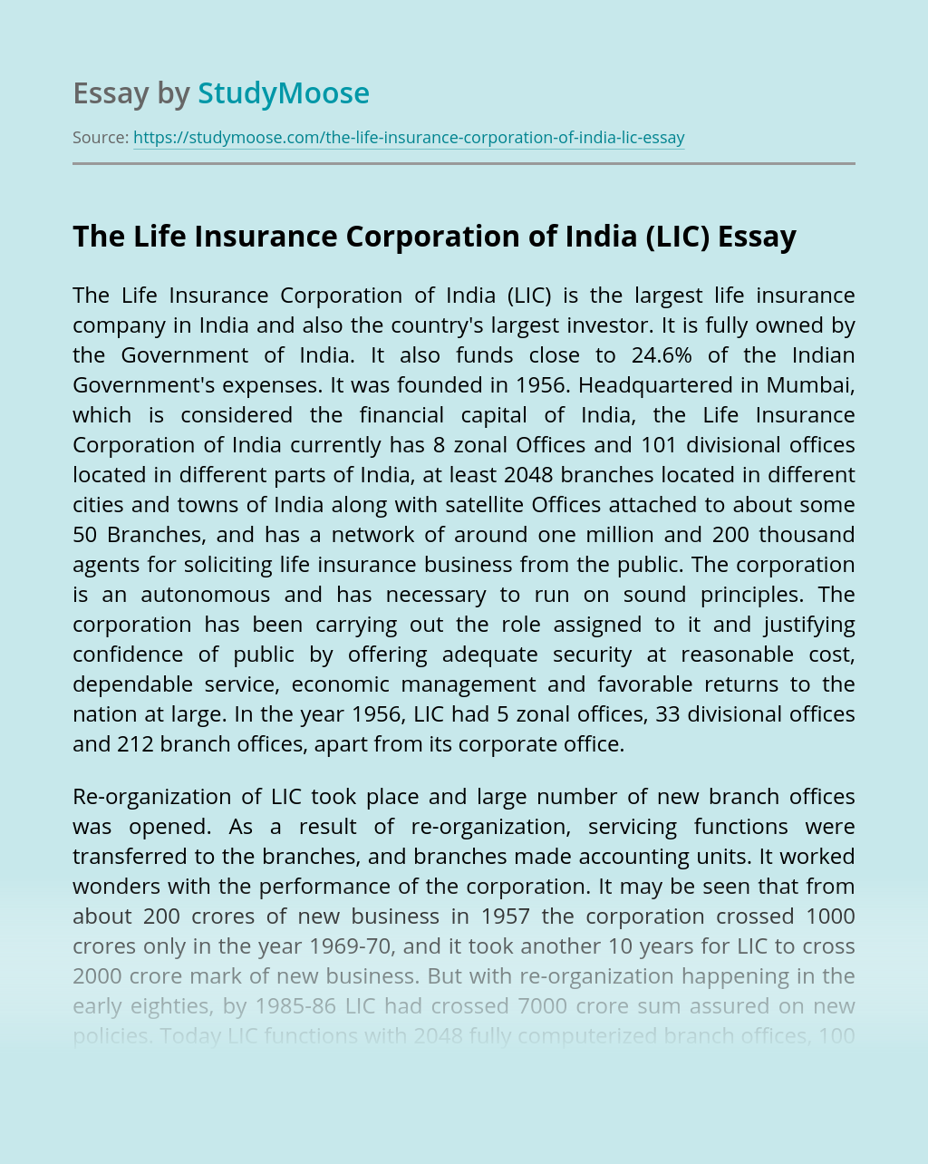 The Life Insurance Corporation of India (LIC)