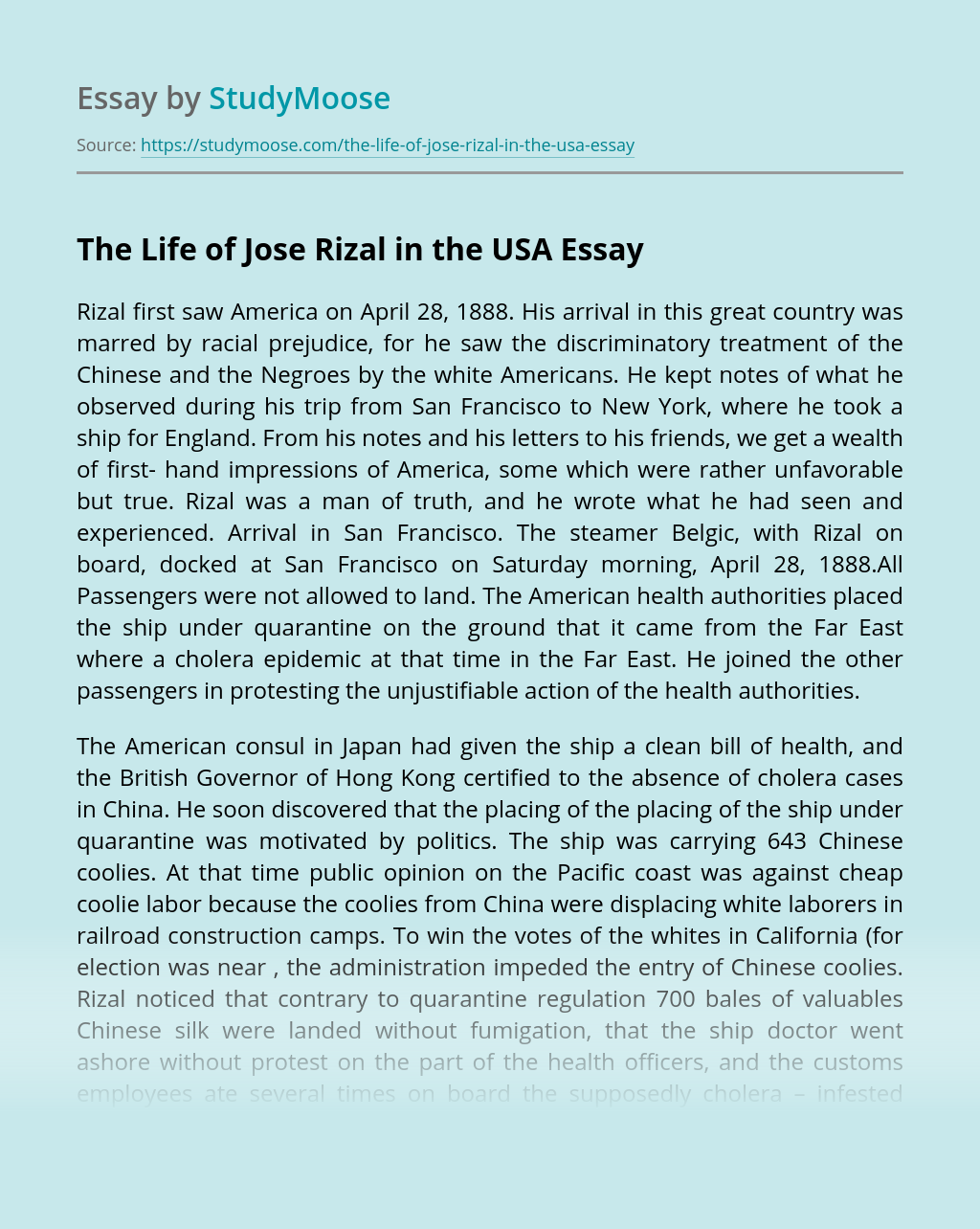 The Life of Jose Rizal in the USA