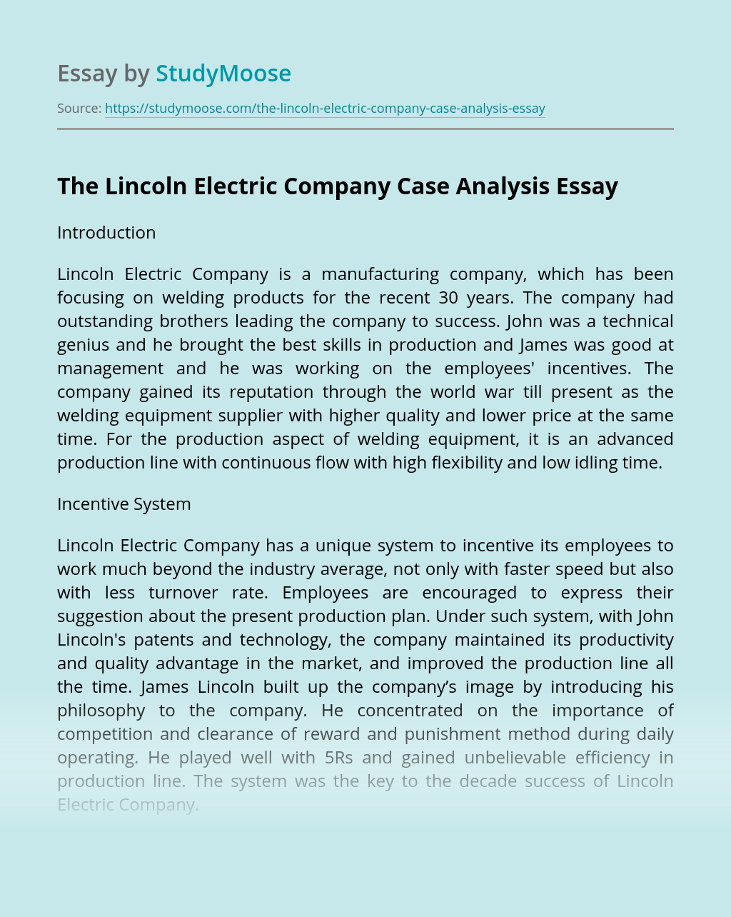 The Lincoln Electric Company Case Analysis