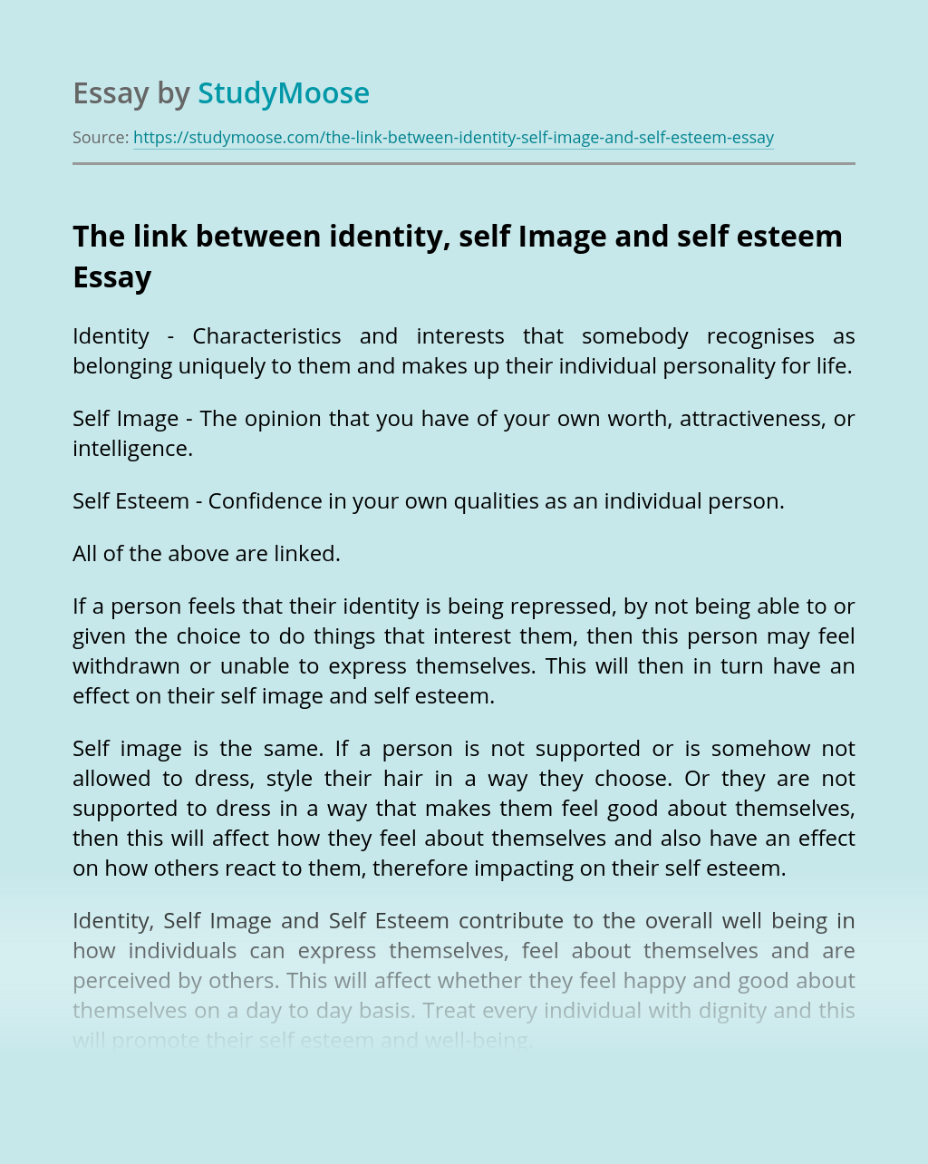 The link between identity, self Image and self esteem
