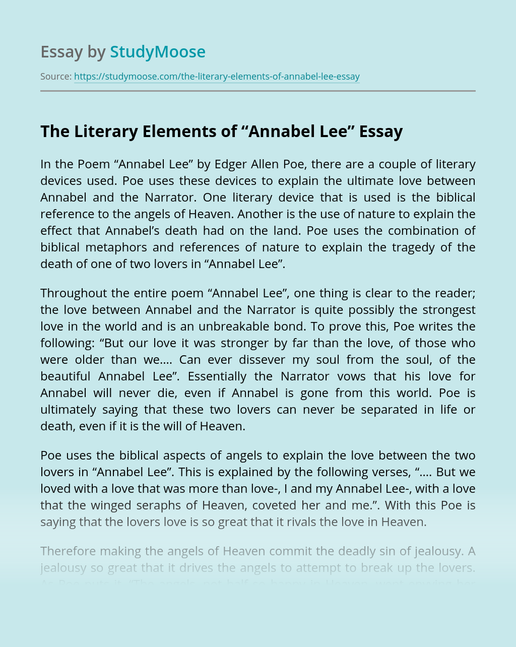 "The Literary Elements of ""Annabel Lee"""