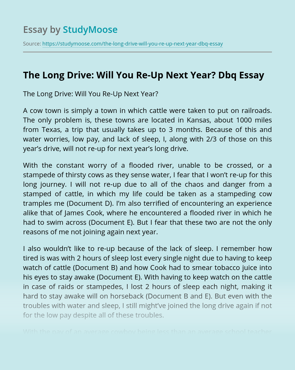 The Long Drive: Will You Re-Up Next Year?