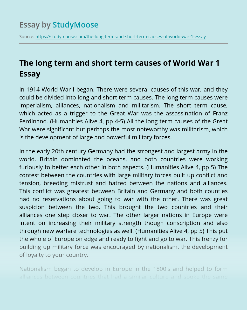 The long term and short term causes of World War 1