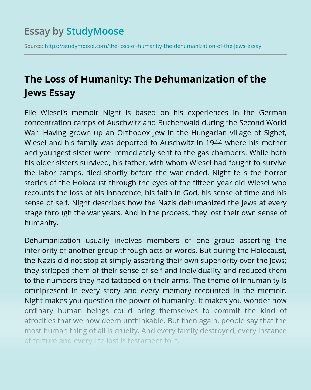 The Loss of Humanity: The Dehumanization of the Jews