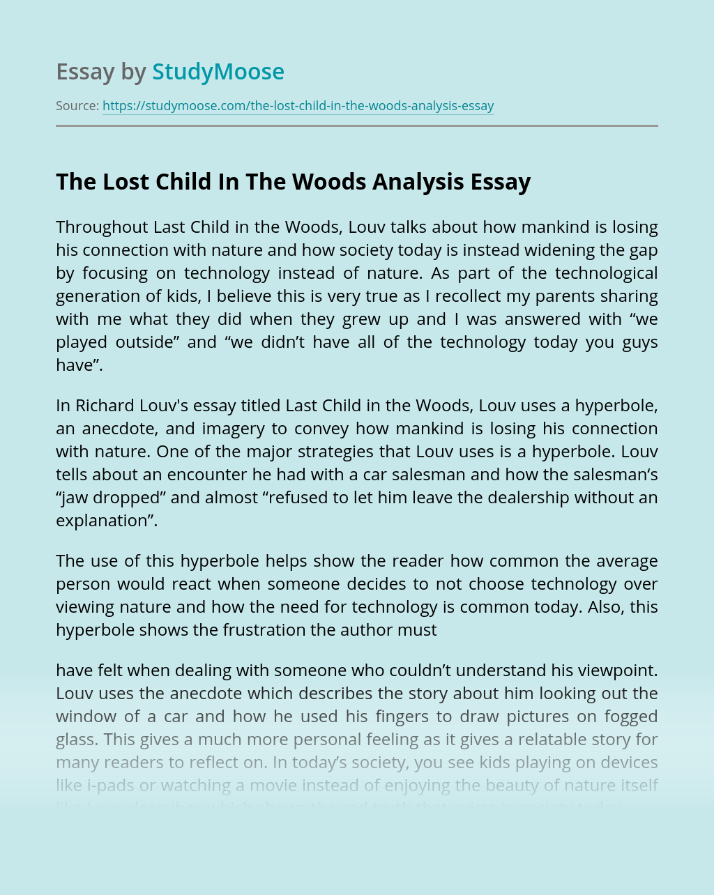 The Lost Child In The Woods Analysis