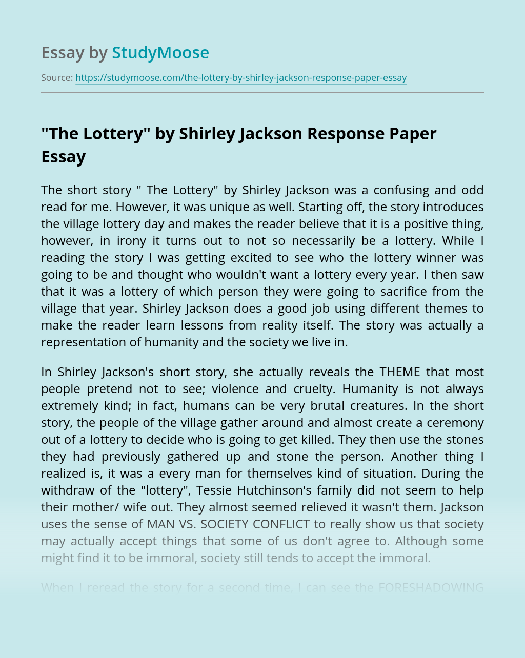 """""""The Lottery"""" by Shirley Jackson Response Paper"""