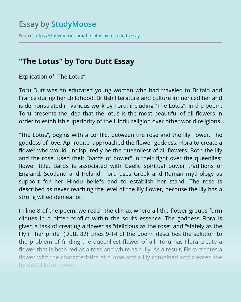 """""""The Lotus"""" by Toru Dutt"""