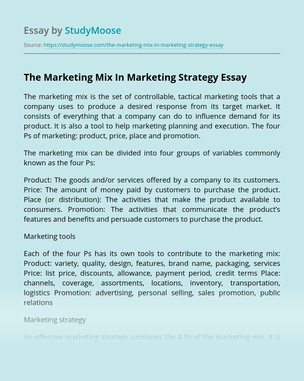 The Marketing Mix In Marketing Strategy
