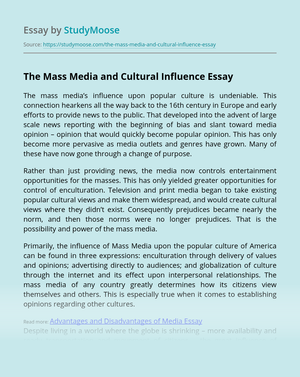 The Mass Media and Cultural Influence