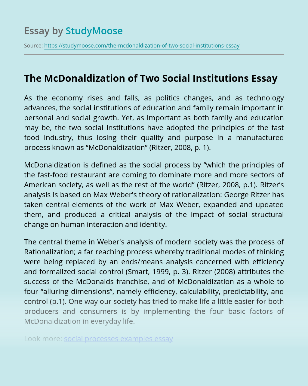The McDonaldization of Two Social Institutions