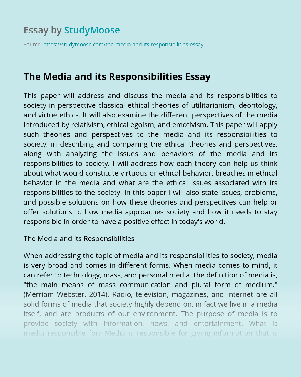 The Media and its Responsibilities