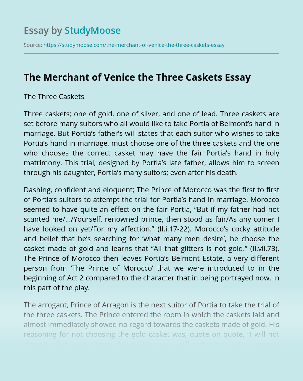 The Merchant of Venice the Three Caskets