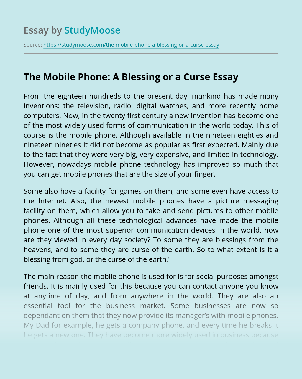 The Mobile Phone: A Blessing or a Curse