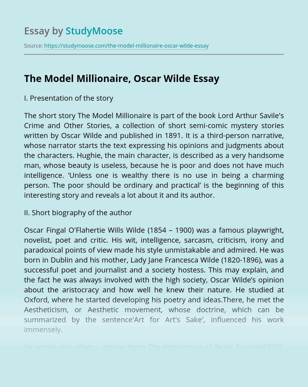 The Model Millionaire, Oscar Wilde