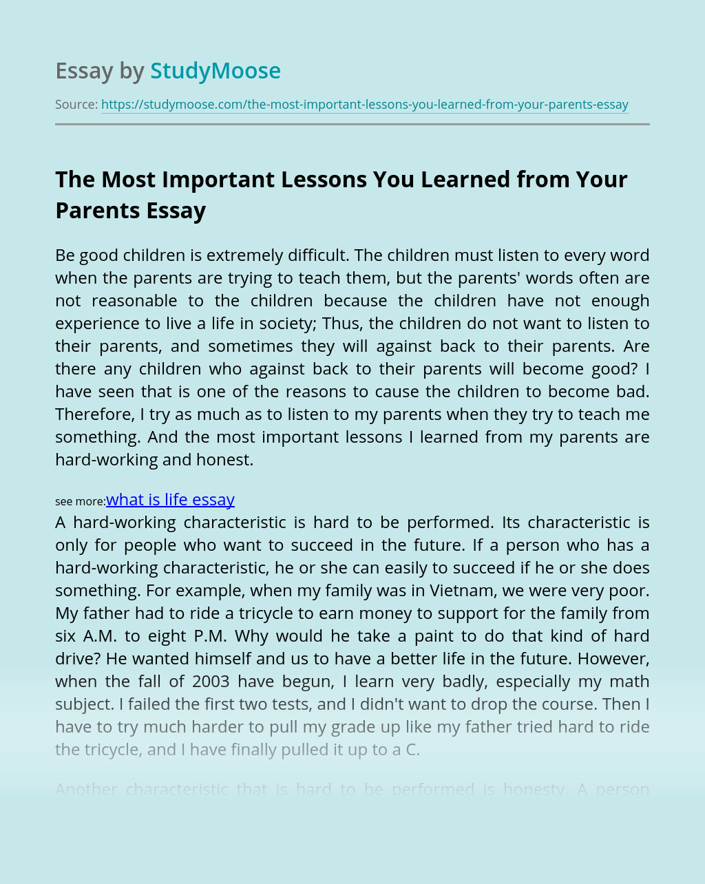 The Most Important Lessons You Learned from Your Parents