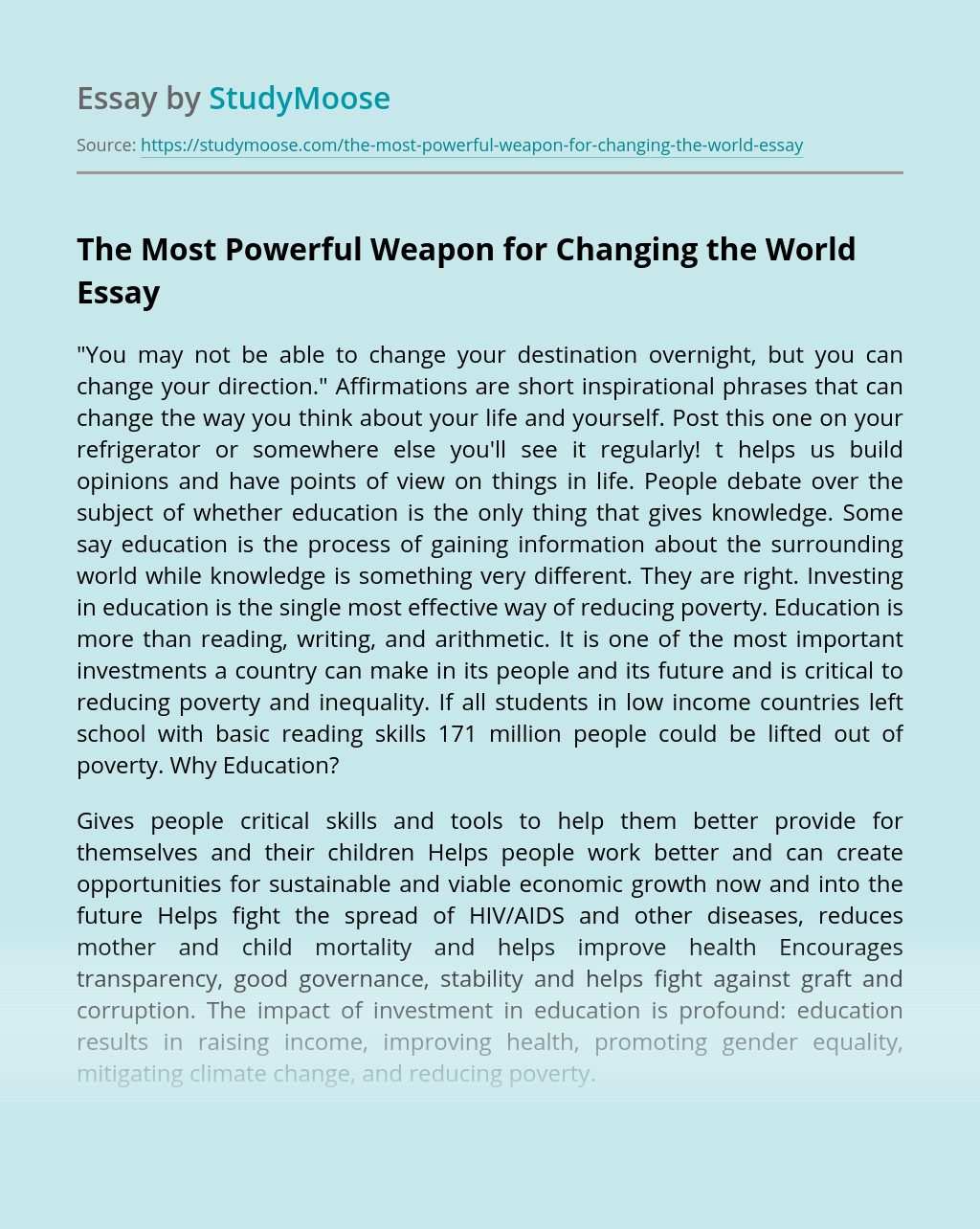 The Most Powerful Weapon for Changing the World