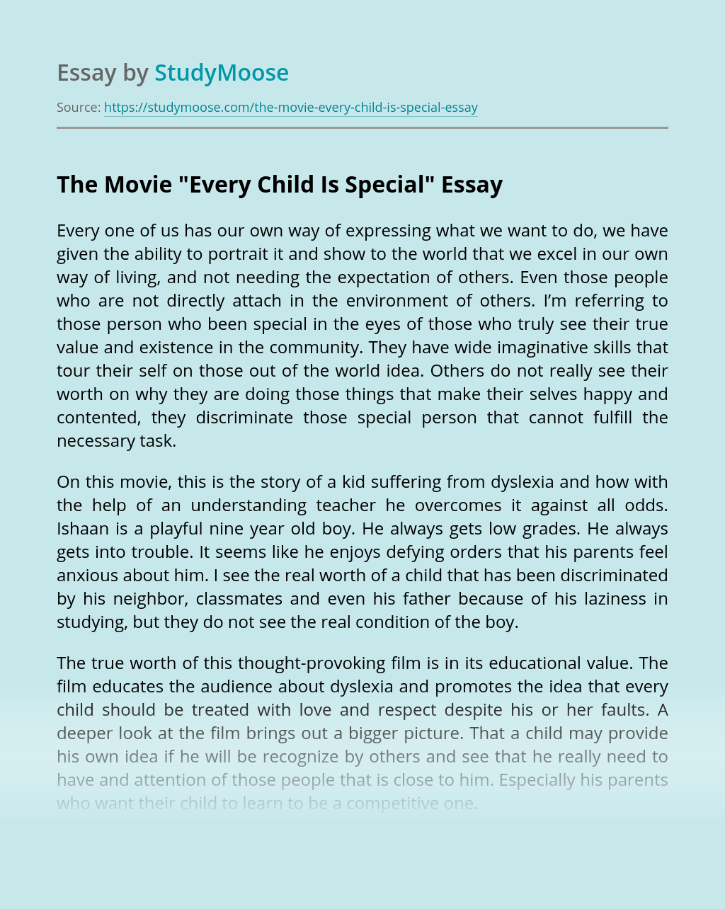 """The Movie """"Every Child Is Special"""""""