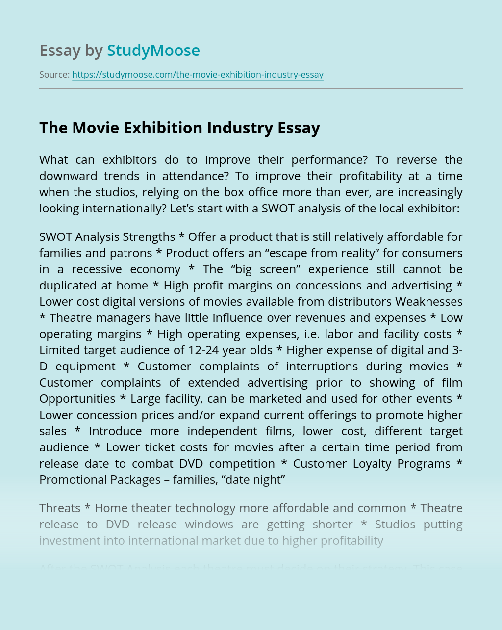 The Movie Exhibition Industry