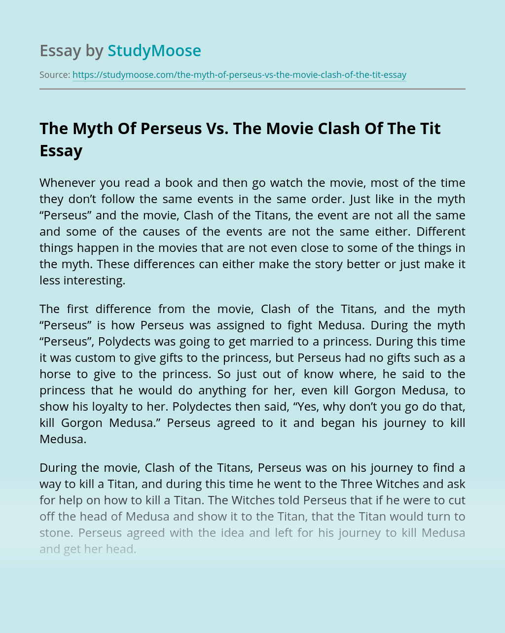 The Myth Of Perseus Vs. The Movie Clash Of The Tit