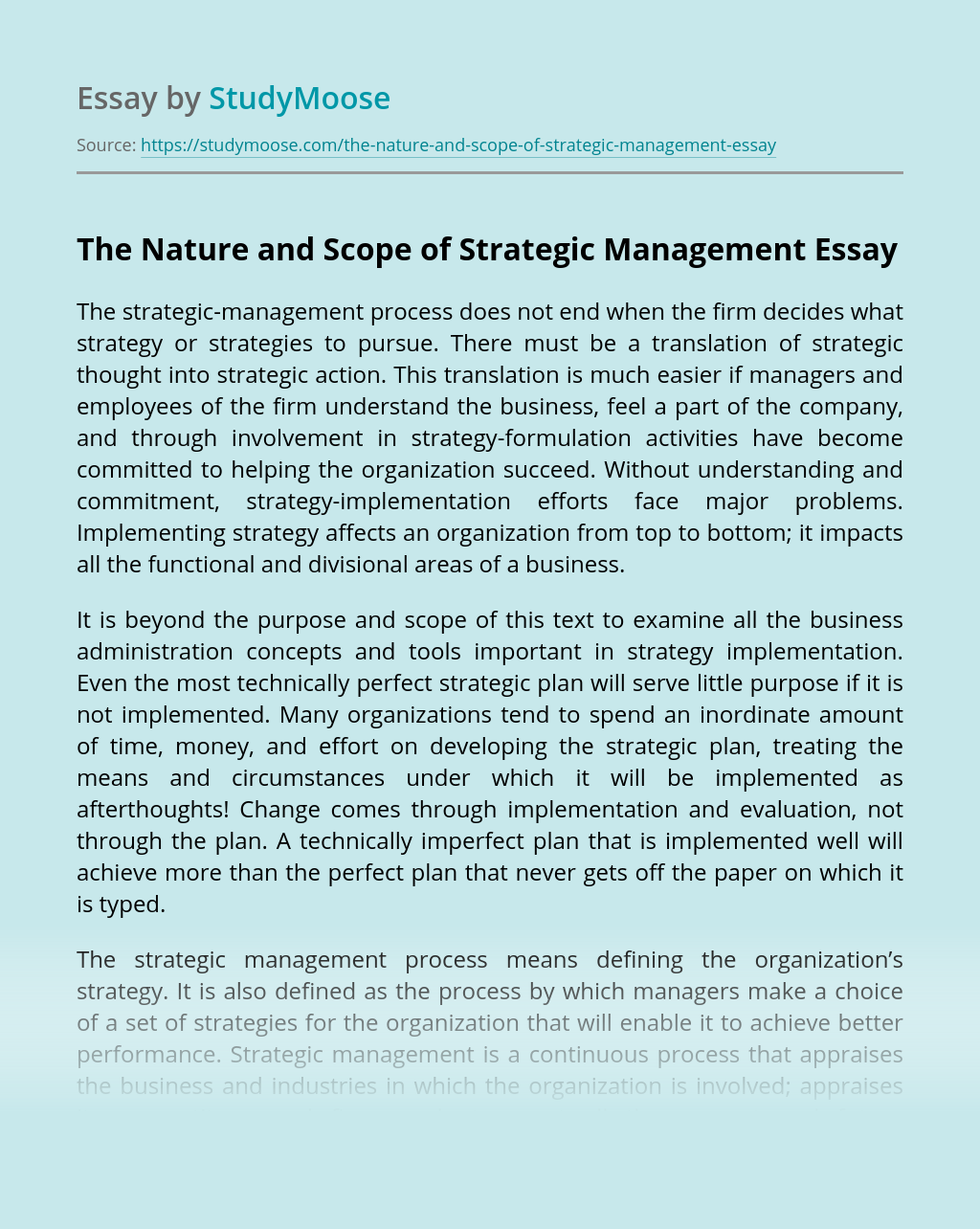 The Nature and Scope of Strategic Management