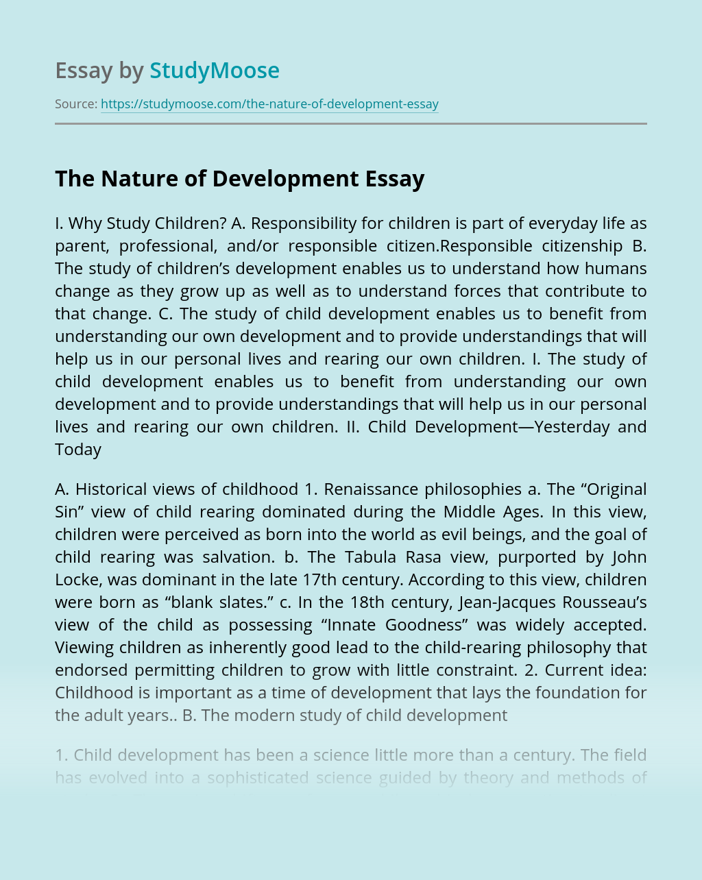 The Nature of Development