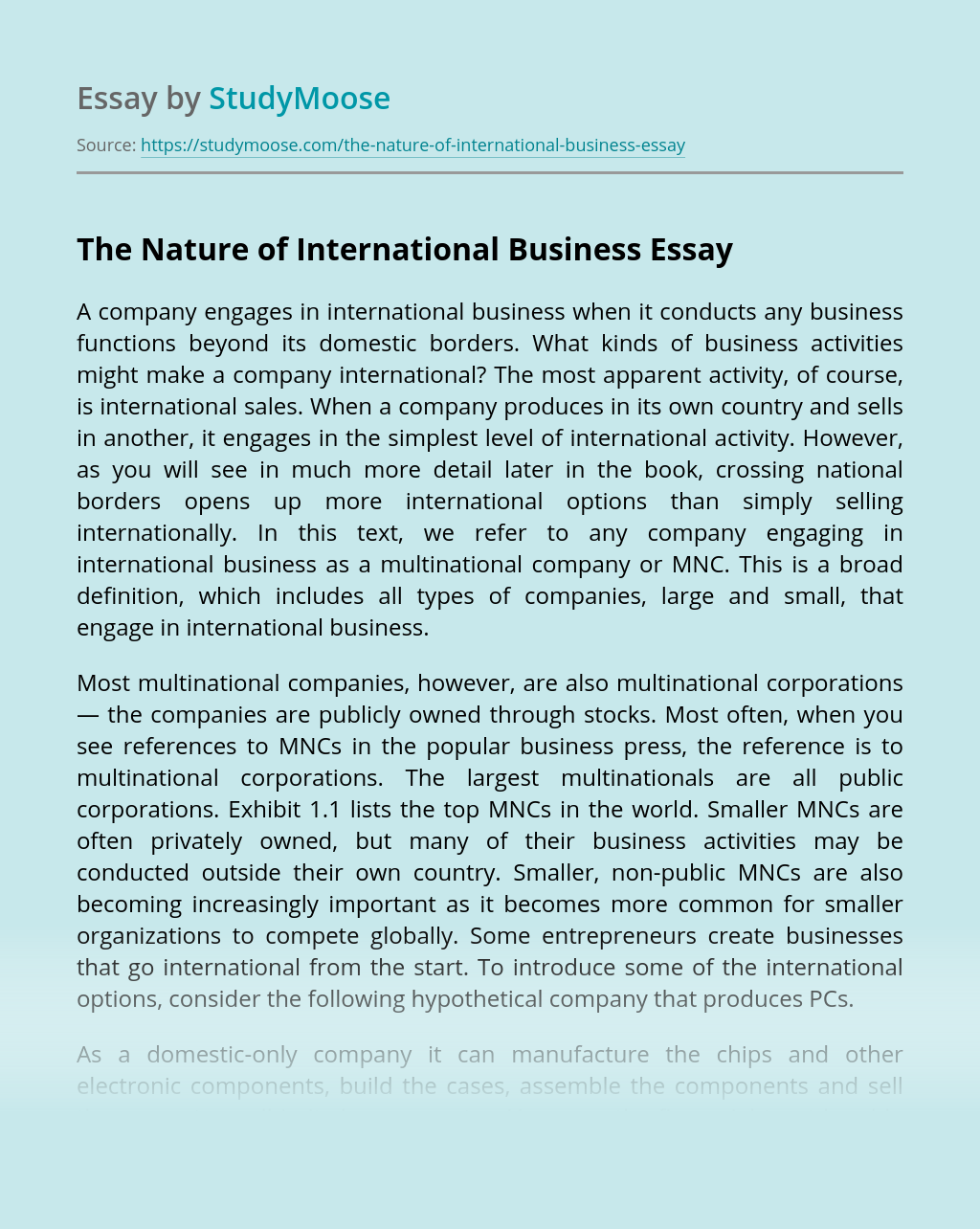 The Nature of International Business