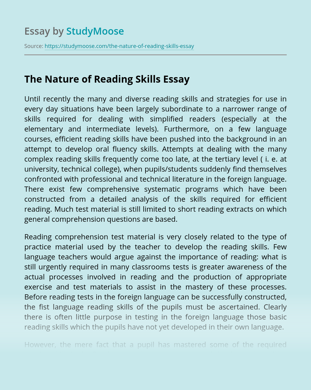 The Nature of Reading Skills