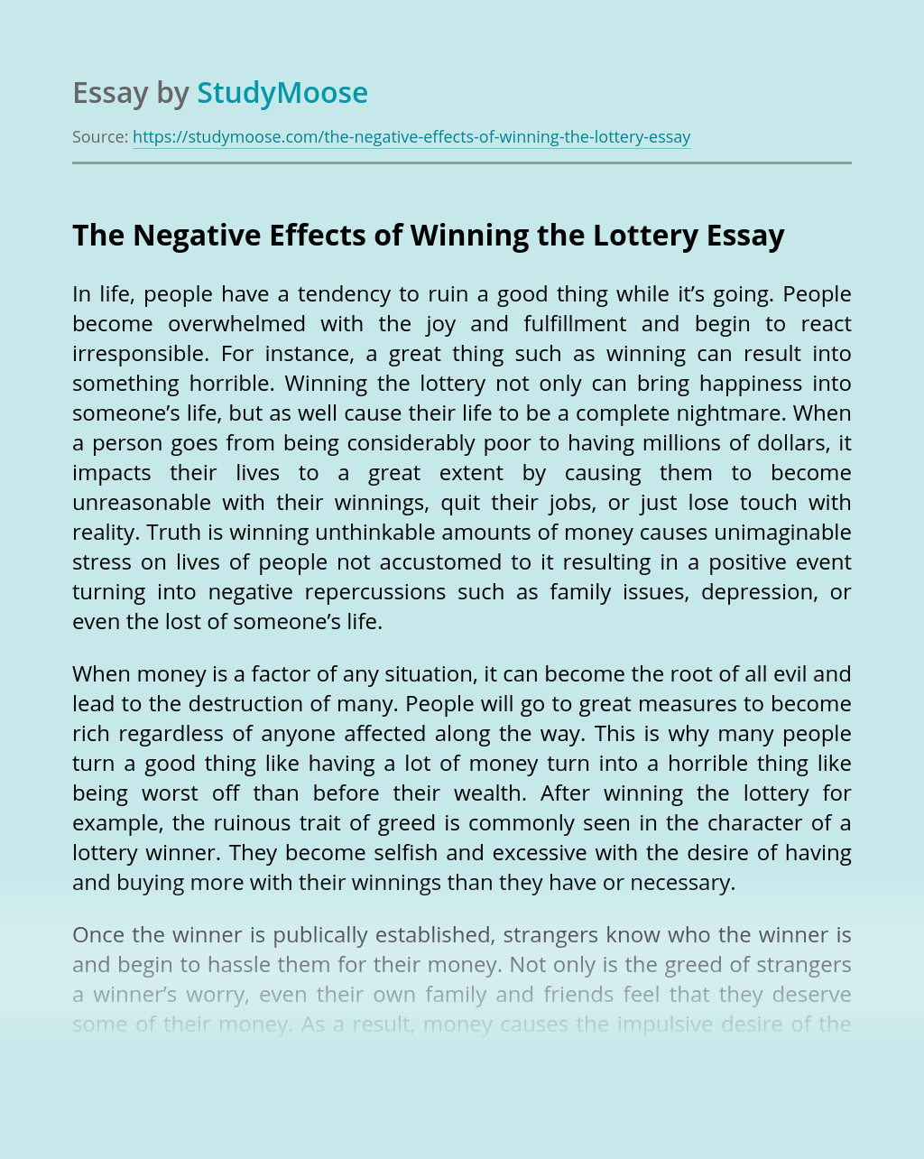 The Negative Effects of Winning the Lottery