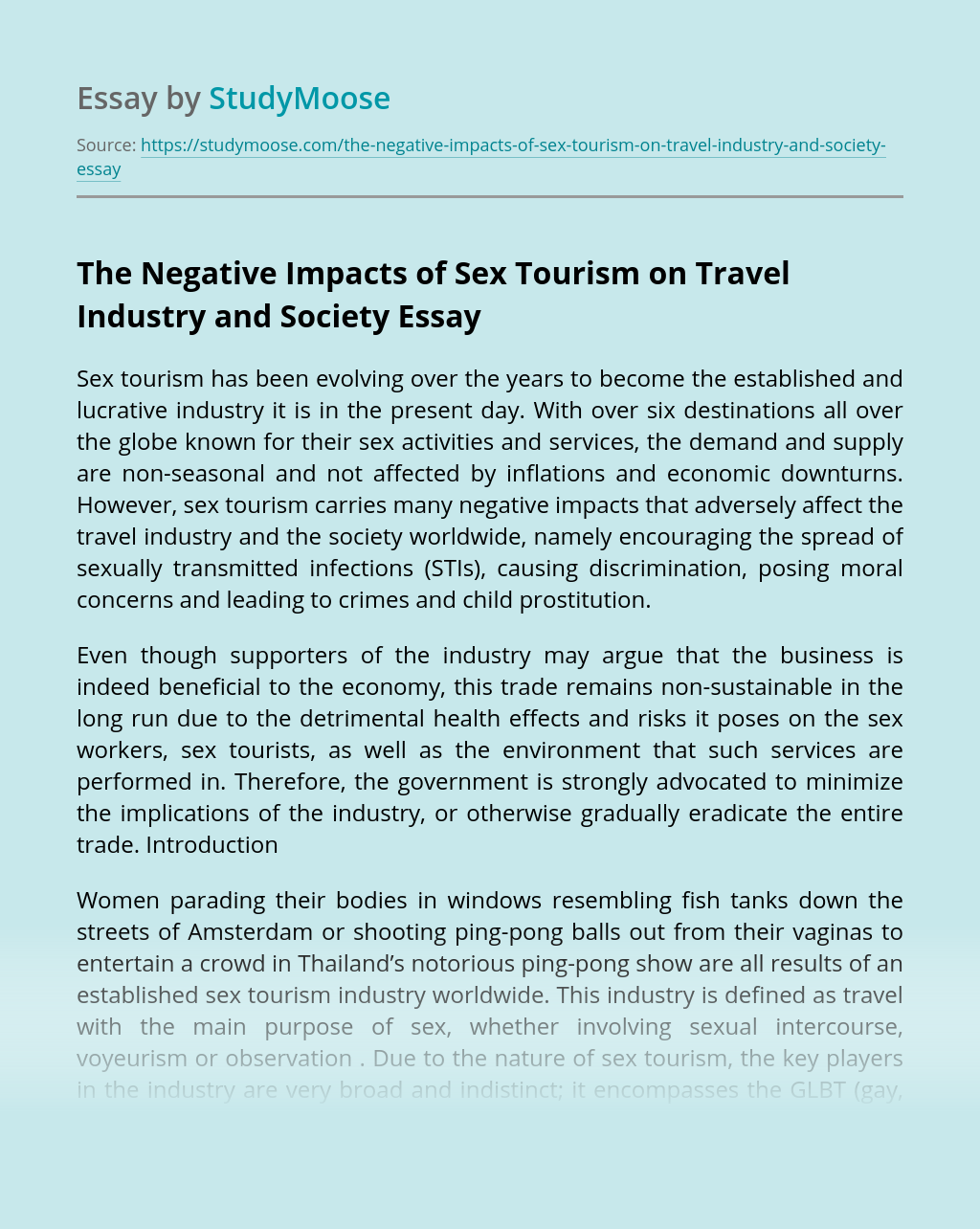 The Negative Impacts of Sex Tourism on Travel Industry and Society