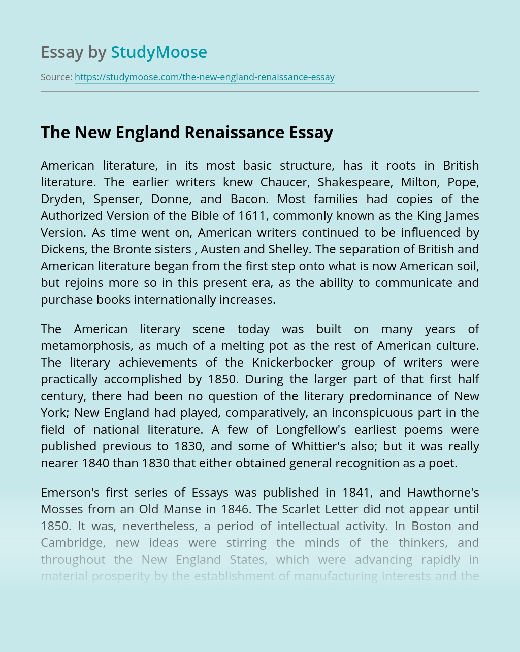 The New England Renaissance