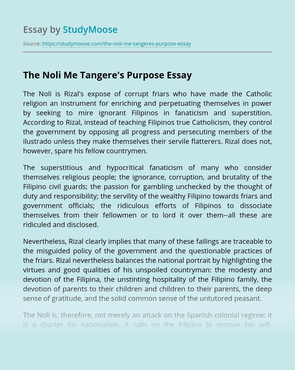 The Noli Me Tangere's Purpose