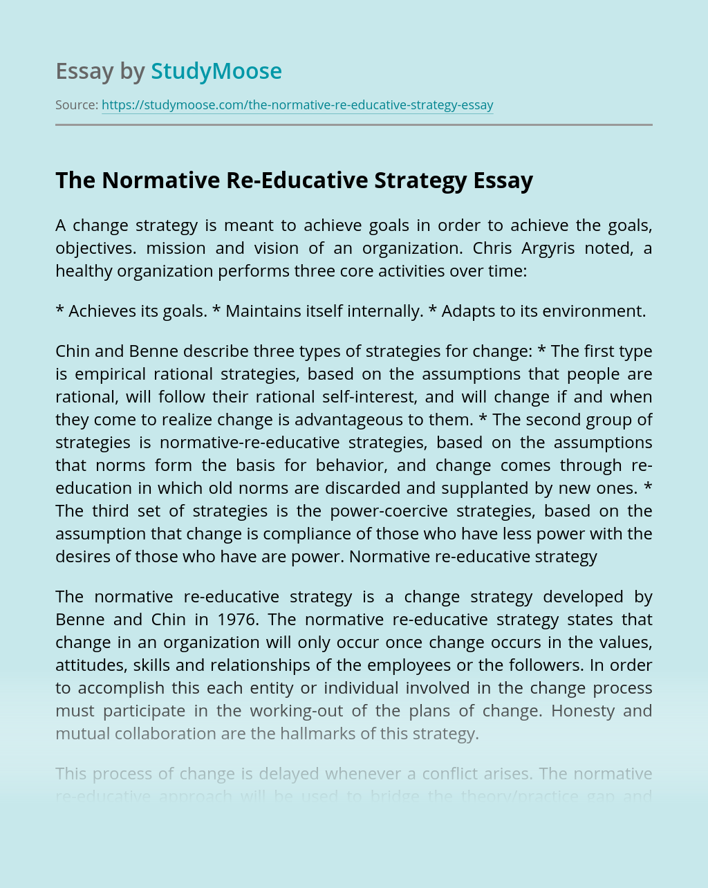 The Normative Re-Educative Strategy