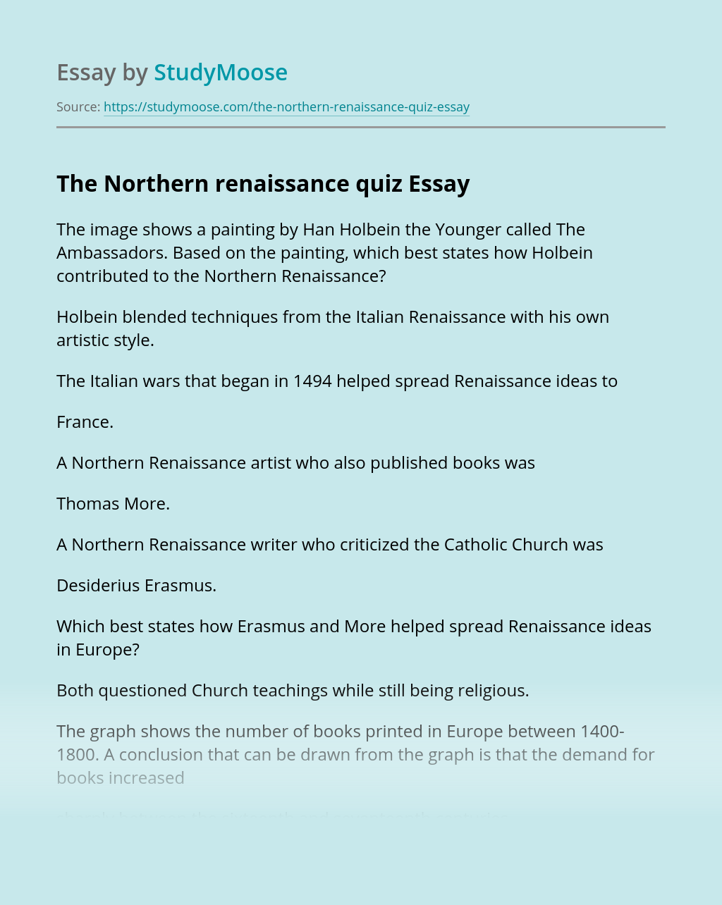 The Northern renaissance quiz