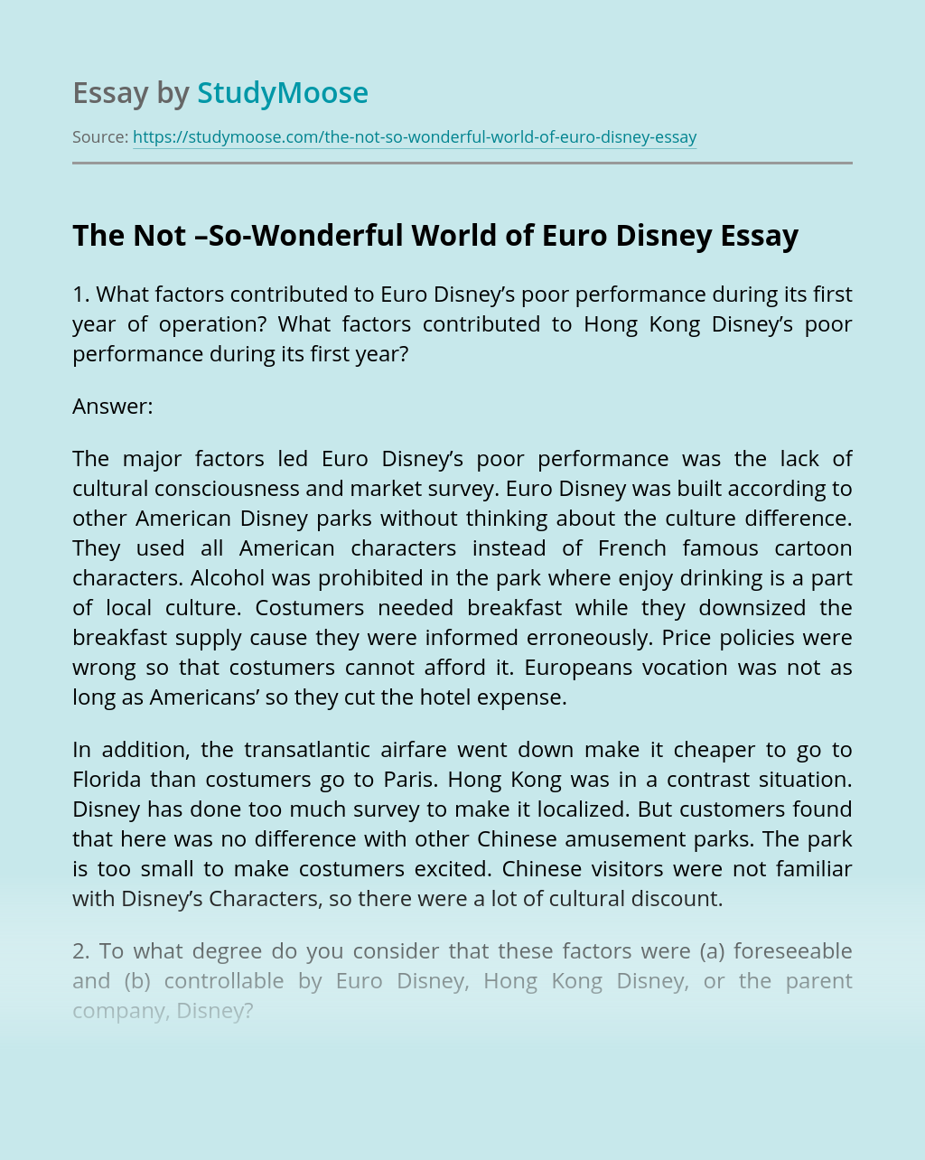 The Not –So-Wonderful World of Euro Disney