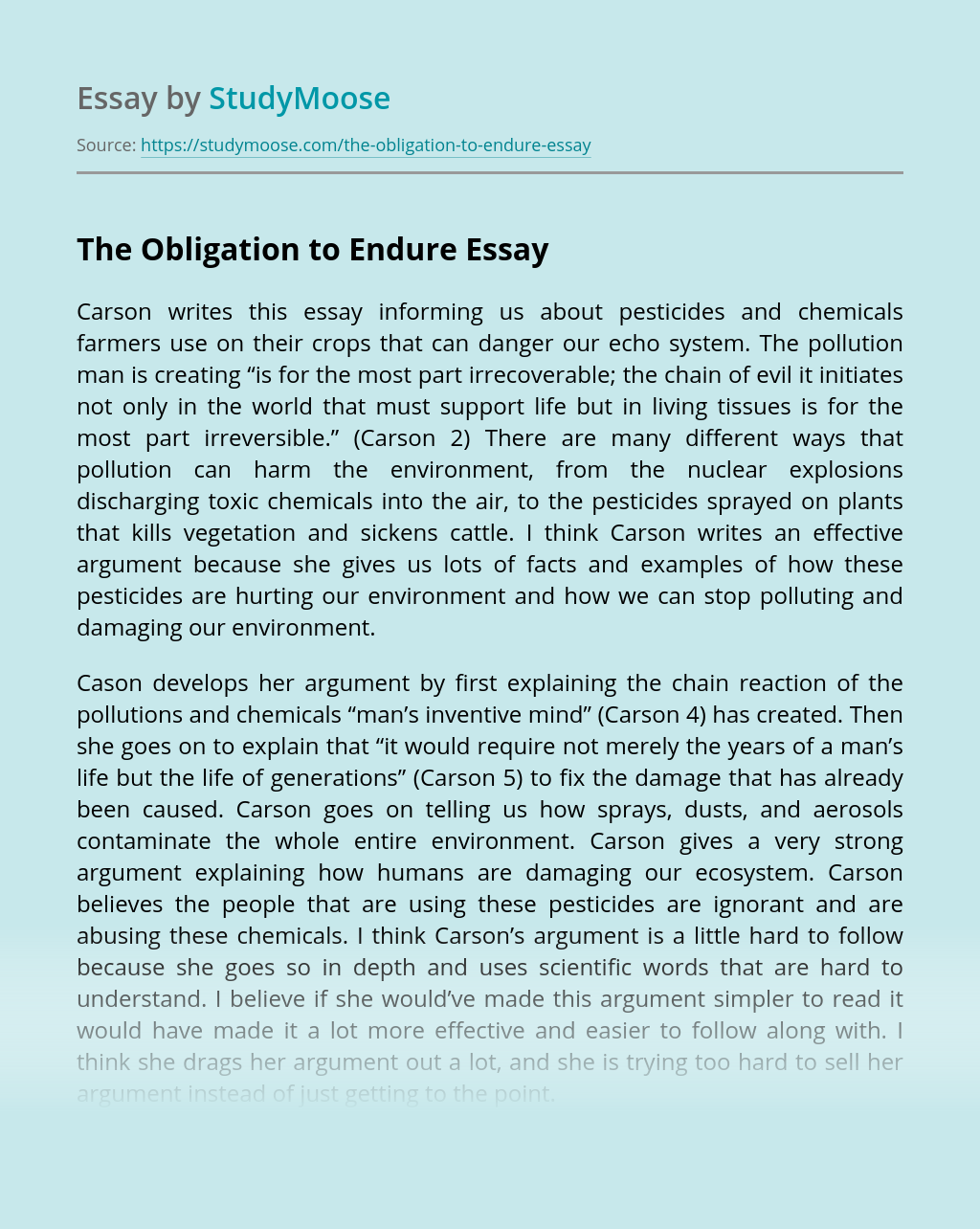 The Obligation to Endure
