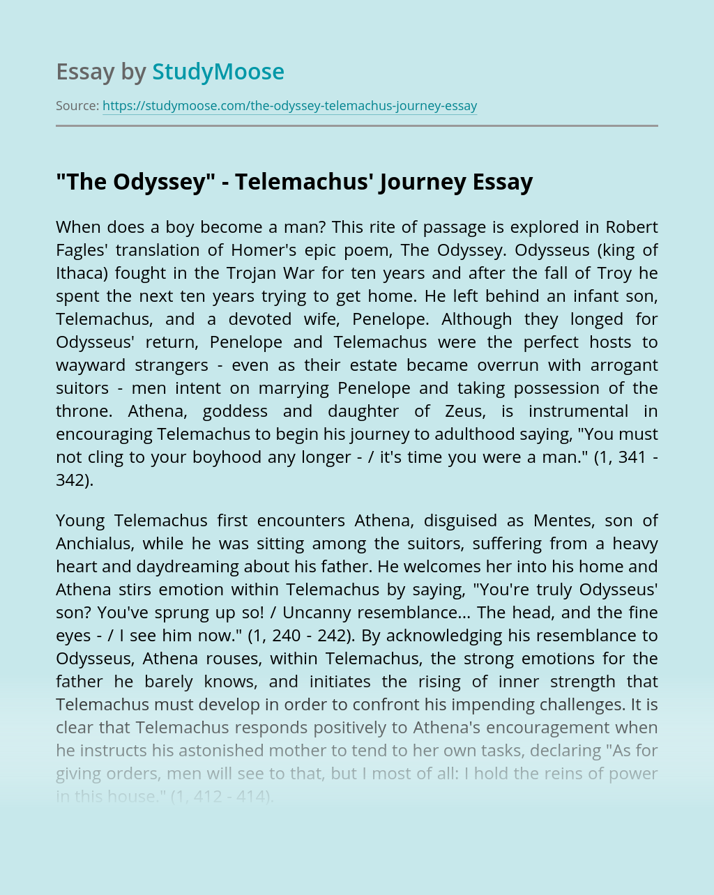 """The Odyssey"" - Telemachus' Journey"