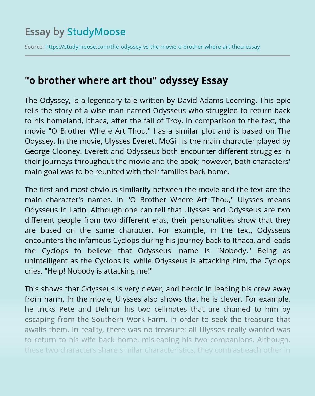 """o brother where art thou"" odyssey"
