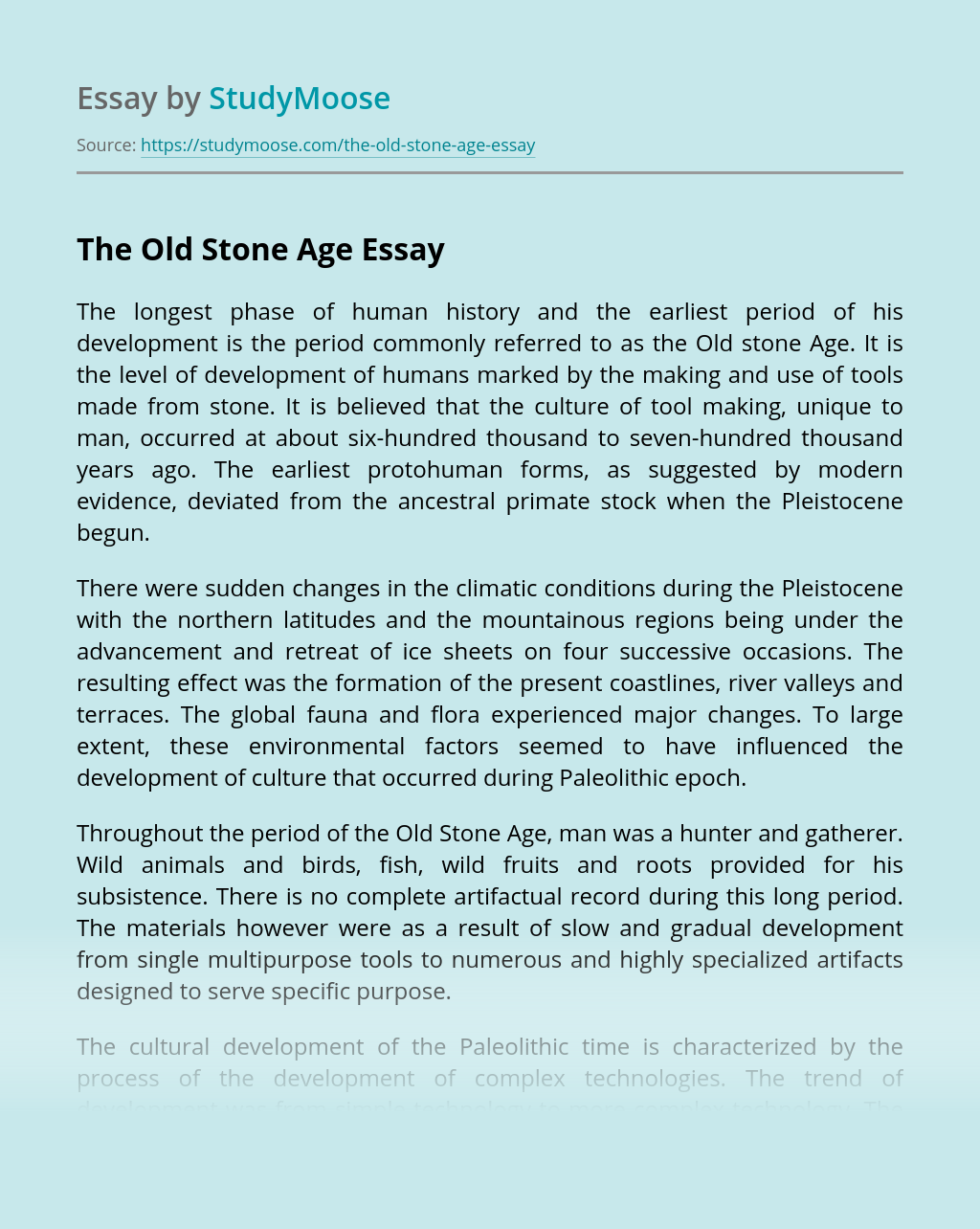 The Old Stone Age