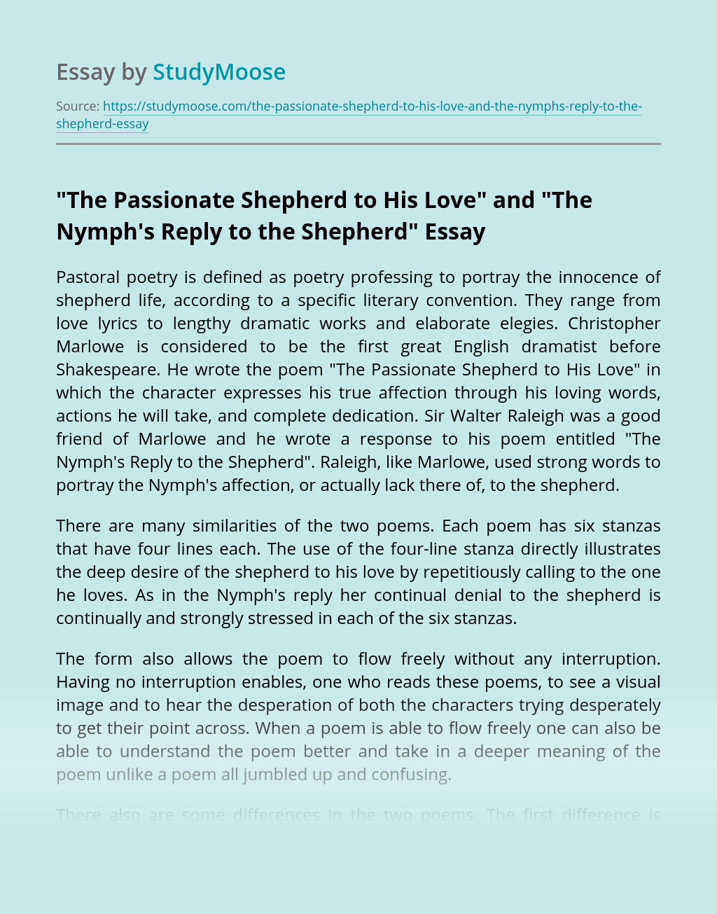 """""""The Passionate Shepherd to His Love"""" and """"The Nymph's Reply to the Shepherd"""""""
