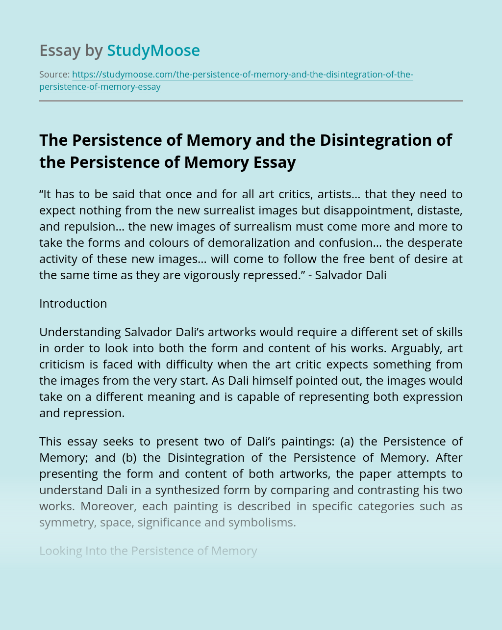 The Persistence of Memory and the Disintegration of the Persistence of Memory