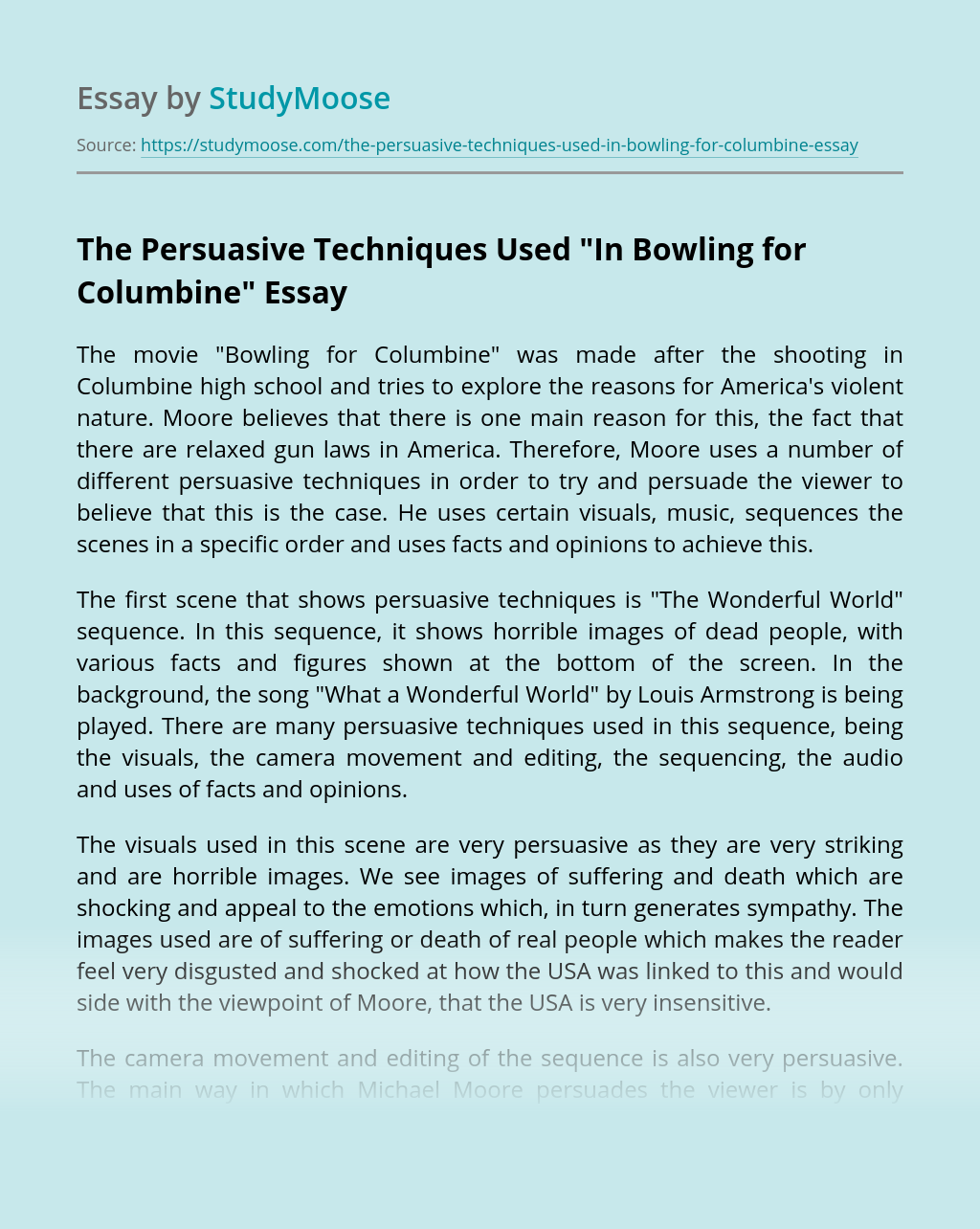 "The Persuasive Techniques Used ""In Bowling for Columbine"""