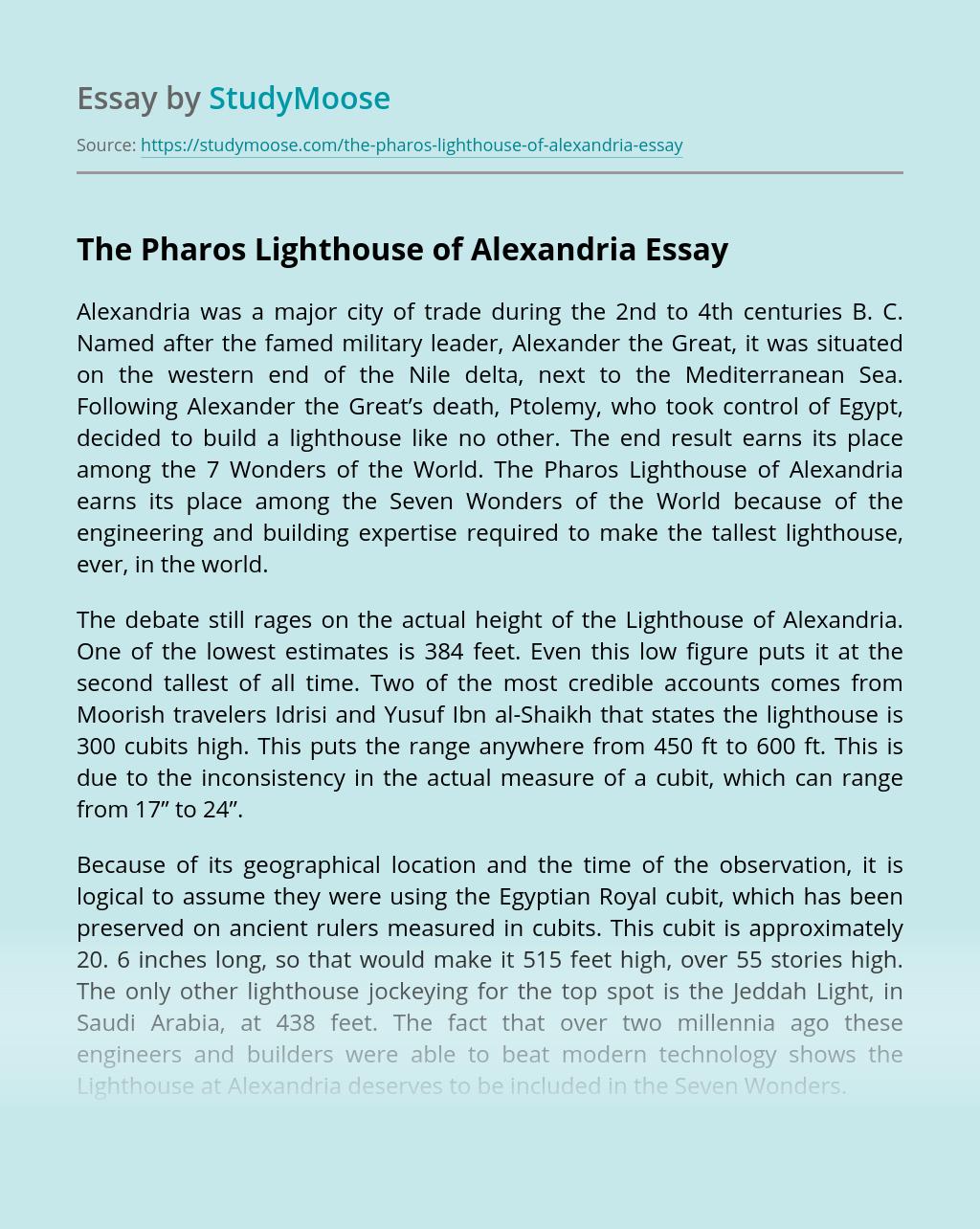 The Pharos Lighthouse of Alexandria